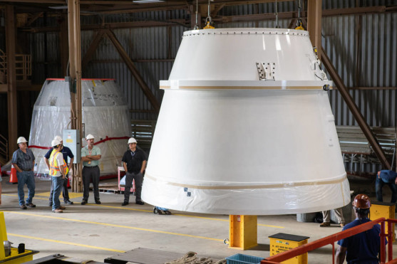 Aft Exit Cones for NASA's Space Launch System Arrive for Artemis I